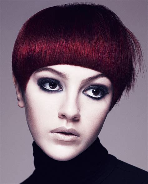 large apple body and round face over 50 hairstyle a short red hairstyle from the aveda collection no 22467