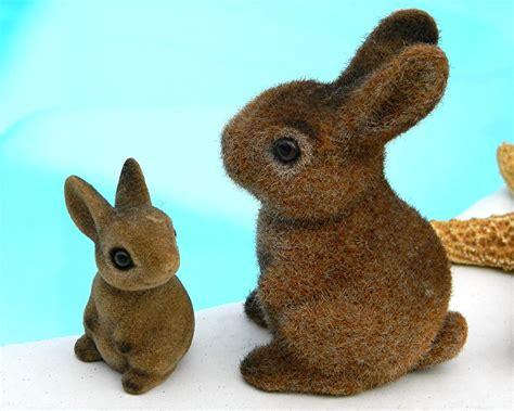 Flocked Easter Bunny Rabbit Antique - vintage flocked bunny rabbit figurines bunnies easter