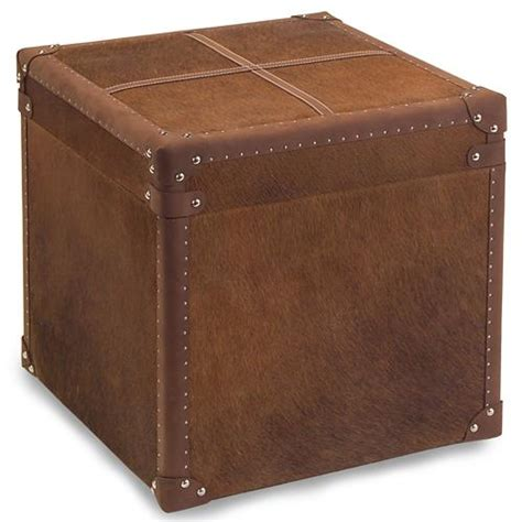 Storage Ottoman Side Table Bauer Rustic Lodge Brown Hide Leather Side Table Storage
