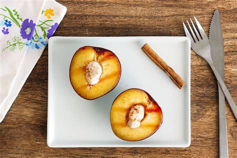 grilled plums with cinnamon honey yogurt recipe myfooddiary