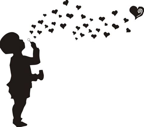 Baby Room Wall Sticker kid blowing hearts wall decal sticker bubbles boy girl