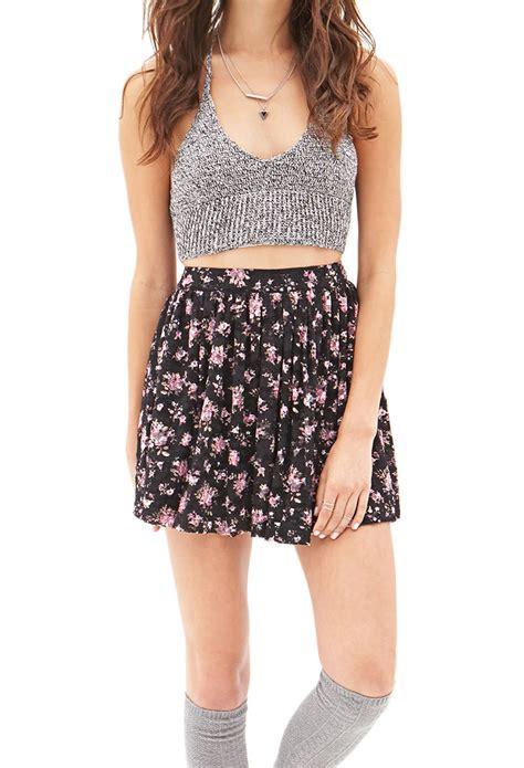 Forever21 Zipper Lace Skirt Branded forever 21 floral lace mini skirt in floral black multi lyst