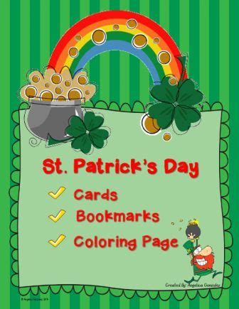 st s day bookmarks cards and coloring page