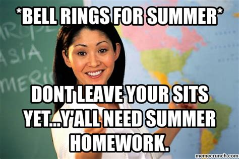 Teacher Summer Meme - summer homework