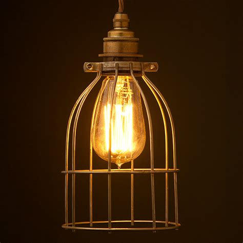industrial light bulbs antiqued bulb cage pendant