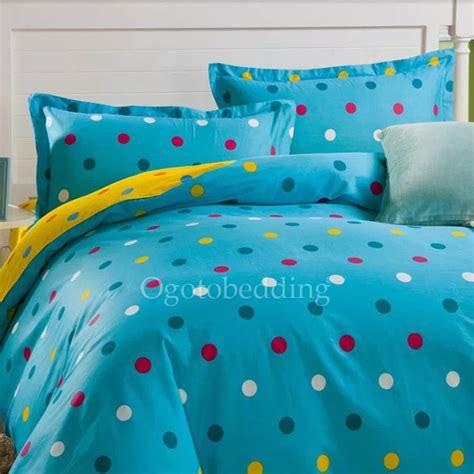 modern blue polka dot hippie quality teen bedding sets