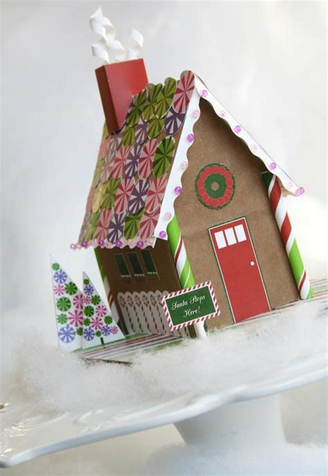Paper Craft Kit - printable gingerbread house paper kit by paperandcake