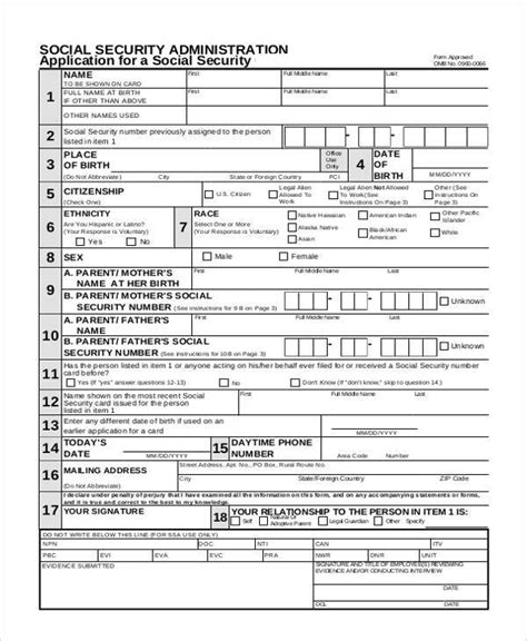 social security form sle security application forms 7 free documents in
