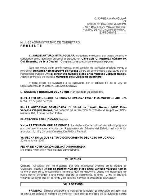 carta oficial requerimiento demanda de nulidad vs multa de tr 225 nsito
