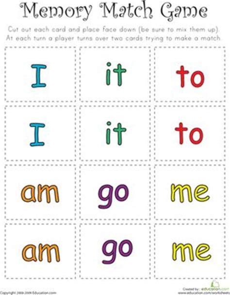 printable memory games for kindergarten match game sight word memory match kindergarten reading