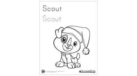 scout and friends winter coloring printable holiday