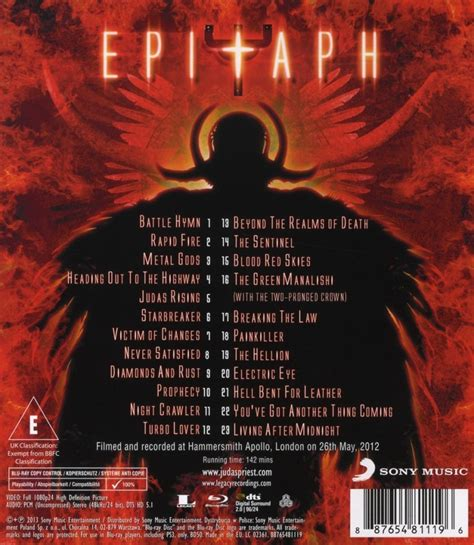 rob set list epitaph the judas priest world tour captured on a