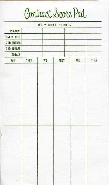 bridge tally template scorecard bridge