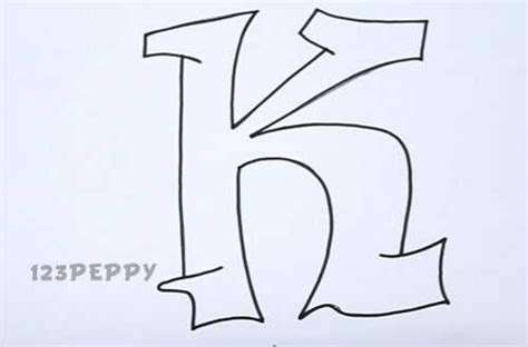 Letter K Sketches by How To Draw Graffiti Letter K Tutorial 123peppy