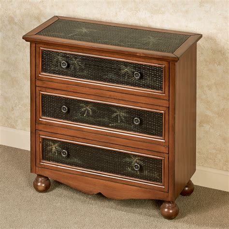 accent chest of drawers tropical palms three drawer accent chest