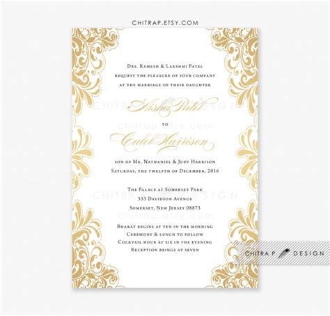 wedding invitations gold and white gold wedding invitation printed white black indian lace