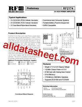 datasheet of rf diode rf2174 datasheet pdf rf micro devices