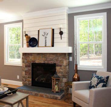 shiplap  stone fireplace farmhouse fireplace decor