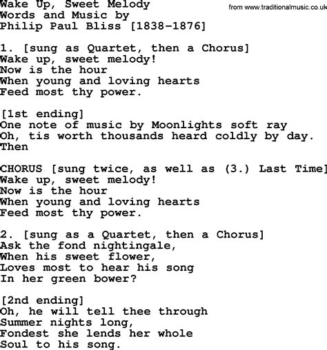 melody lyrics up sweet melody by philip bliss christian hymn or
