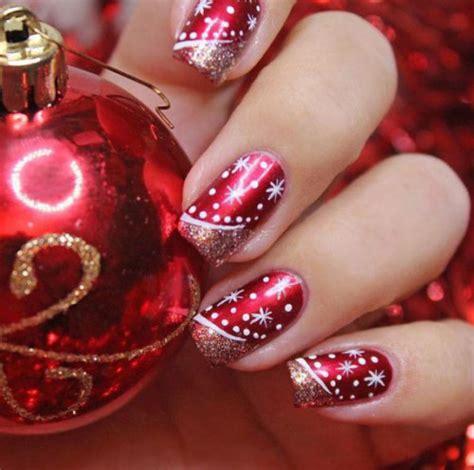 imágenes de uñas rojas con dorado u 241 as decoradas con dise 241 os navide 241 os super lindos todo