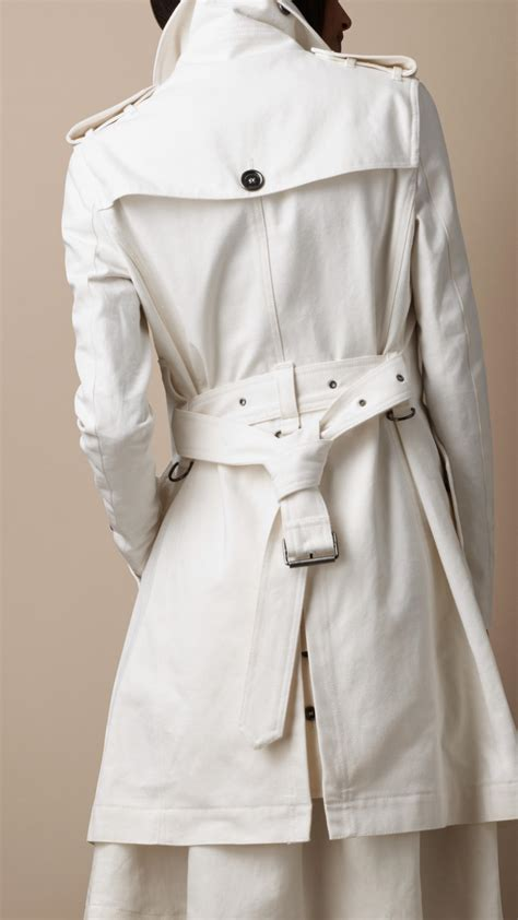 burberry brit mid length oversize collar cotton trench