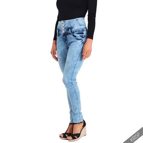Basic Highwaist 1 womens basic high waist ripped stretch denim jeggings 6 14 ebay