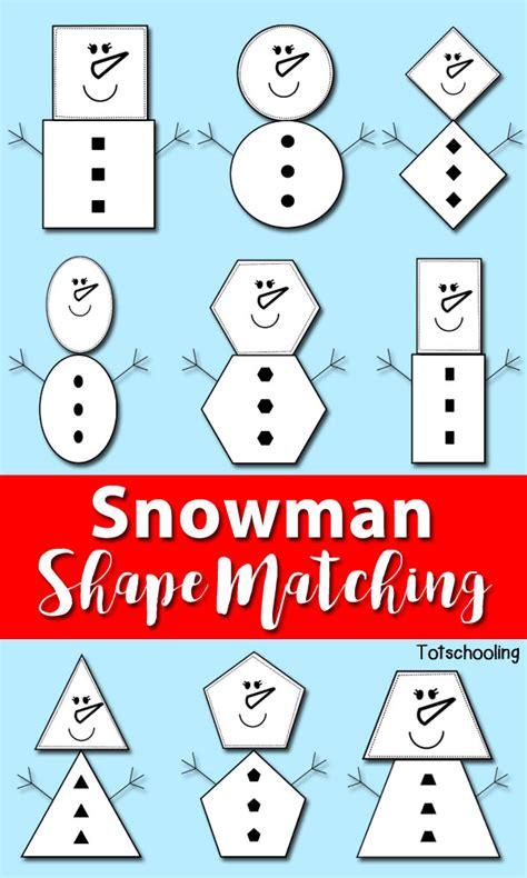 printable snowman activities for preschool snowman shape matching totschooling toddler preschool