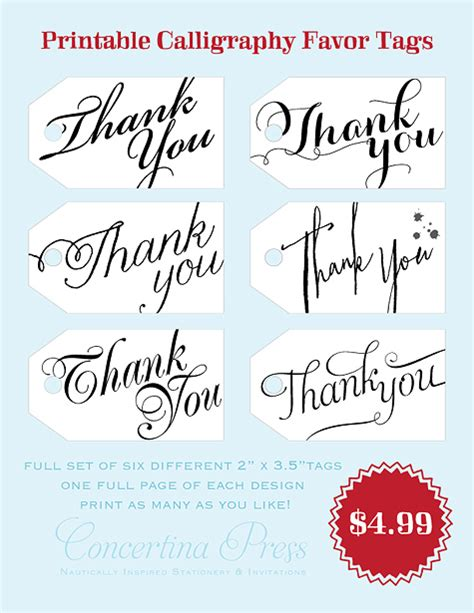 Concertina Press Stationery And Invitations Diy Printable Calligraphy Thank You Wedding Favor Free Printable Wedding Thank You Tags Templates