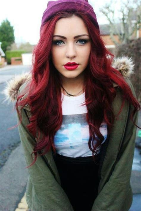 gothic girl with bright red hair 17 cool halloween dark red scene hair tumblr