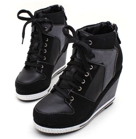 high heel wedge sneakers for womens platform wedge booties high heels sneakers