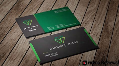 green card template for black and green card template company card design