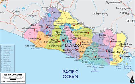 america map el salvador detailed political map of el salvador ezilon maps