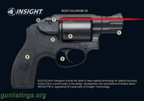 smith & wesson bodyguard 38 revolver w/insight laser in