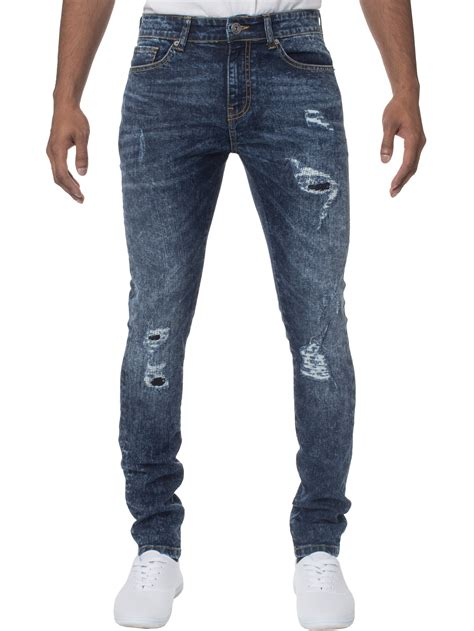 Silet 4 Ripped Black Stretch new enzo mens stretch fit ripped denim all waist blue black ebay