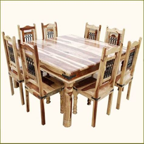 rustic square solid wood furniture large dining room table 9 pc square dining table and 8 chairs set rustic solid