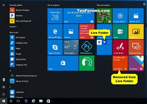 windows 10 tutorial start menu start menu live folders create and use in windows 10