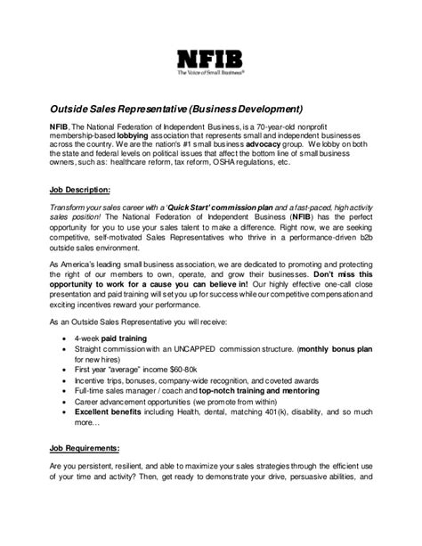 sales representative job description sle