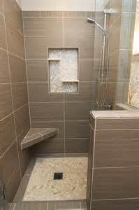 Modern Gray Tile Bathroom Shower With Gray Tile Bench And Beachstone Floor