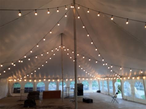Outdoor Wedding Lighting Rental 40 X 60 White Rope And Pole Wedding Tent At Harvest Preserve With Lights Iowa City