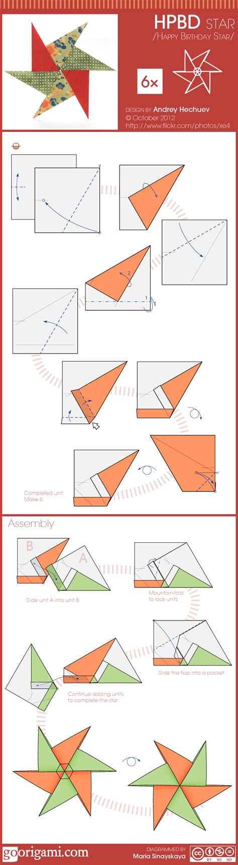 German Paper Folding - learn how to fold 6 pointed hpbd origami design by