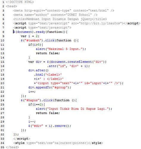 membuat form input menggunakan html membuat form input dinamis dengan jquery