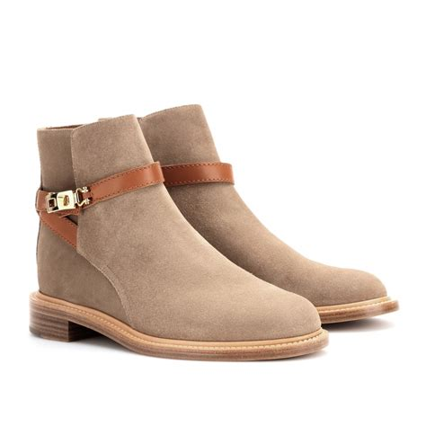 chlo 233 suede ankle boots in beige lyst