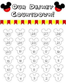Printable Countdown Calendar Template by Disney World Countdown Calendar Printable Calendar
