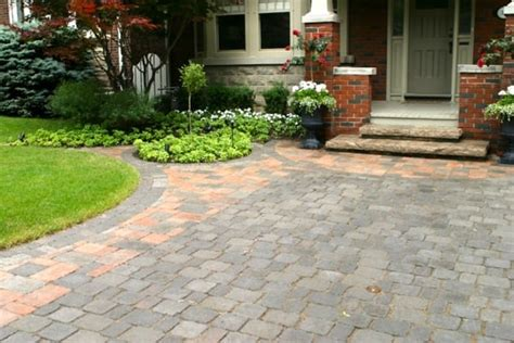 pavers front yard front yard parking pad driveway with tumbled interlocking
