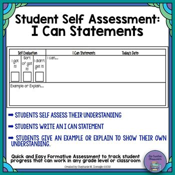 student self assessment the creative classroom teaching resources teachers pay