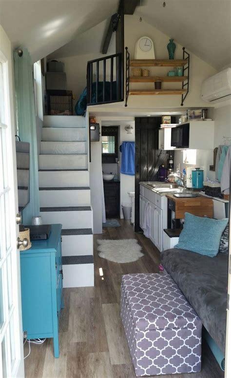 tiny home living  grid modern blue small home loft