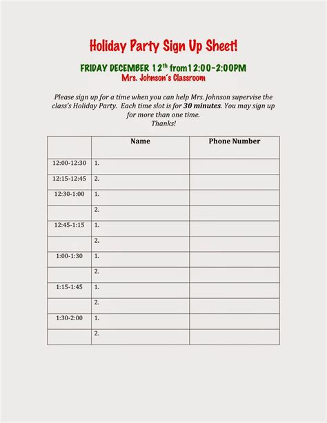 printable christmas party sign up sheet how to make a sign up sheet it resume cover letter sle