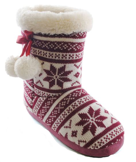 knitted boot slippers slumberzzz fairisle knit pom pom warm fur lined