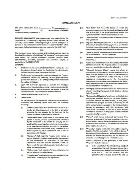 Sle Loan Documents by Housing Loan Agreement 28 Images Sle Construction Loan Agreement Sle Loan Agreement Word Doc