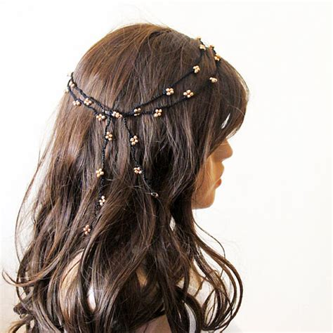 Handmade Hairband - crochet headband headpiece beaded headband hair band gold